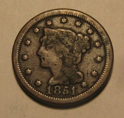 1851 Braided Hair Large Cent Penny - Circulated Condition - 32FR