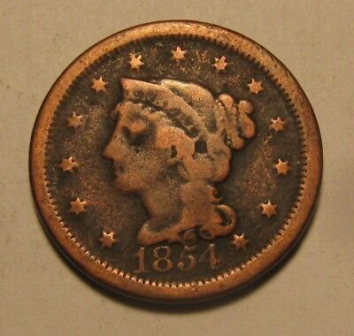 1854 Braided Hair Large Cent Penny - Circulated Condition - 34FR
