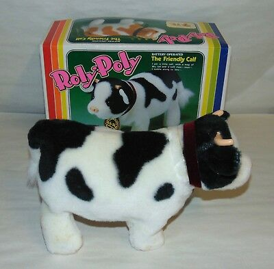 Vintage 1983 Battery Op ROLY POLY THE FRIENDLY CALF Boxed IWAYA Works! COW