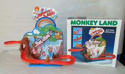 Vintage 1985 Battery Op MONKEY LAND Boxed ROLLER COASTER Works! TOPLAY