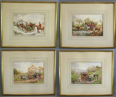 Antique HENRY MURRAY English Horse-Drawn Coaching Watercolor Paintings 4 Seasons