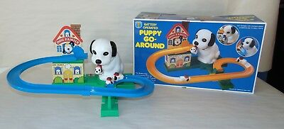 Vintage 1970'S  Battery Op PUPPY GO AROUND Boxed TALENTOY Works!