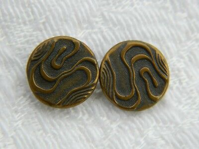 Pair of small Antique VICTORIAN Brass METAL BUTTONS ribbon curved line pattern