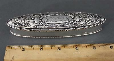 Antique Sterling Silver Howard & Co Long Repousse Crowns & Thorches Dresser Box