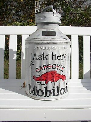 1920's 5-Gallon MOBILOIL Mobil Gargoyle Oil Can Theme Rat Rod Look