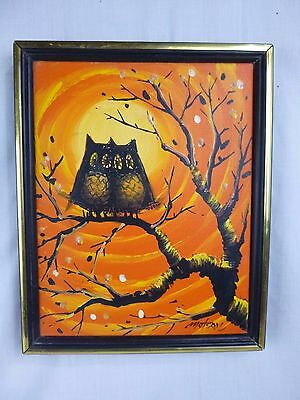 Vtg Mid Century Modern Signed Matson Owl Couple Sunset Oil Painting Kitschy