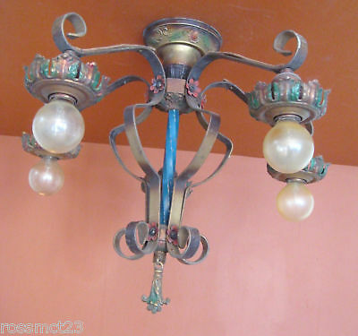 Vintage Lighting antique 1920s polychrome set   Three Ceiling Lights