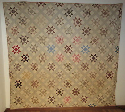 Antique Quilt c1860 w/36 Crystal Texas Ohio Stars Hand Pieced In Many Colors