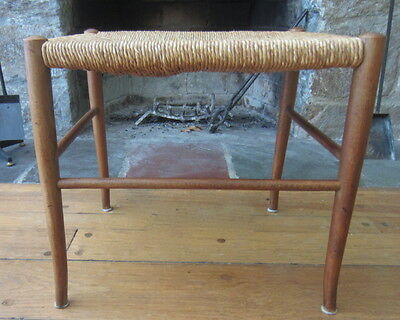 Mid Century Modern Walnut Rush Straw Stool In the Gio Ponti Manner Made in Italy