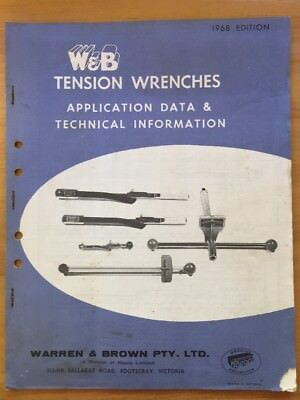 Vintage 1968 W&B Tension Wrenches Application Data & Technical Information Book