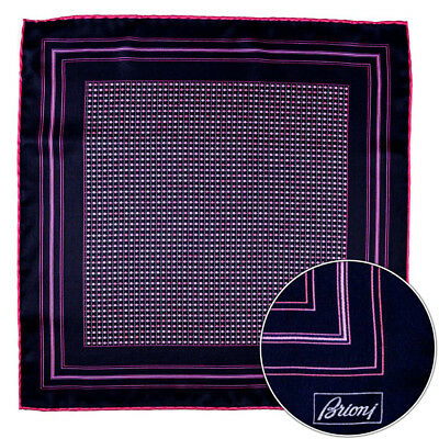 Men's BRIONI Pink Polka Dot Silk Hand Made Rolled Pocket Square Handkerchief