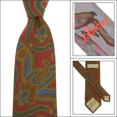 """New BRIONI Italy Oxblood Brown Paisley 3.25"""" Hand Made Woven Silk Neck Tie NWT"""