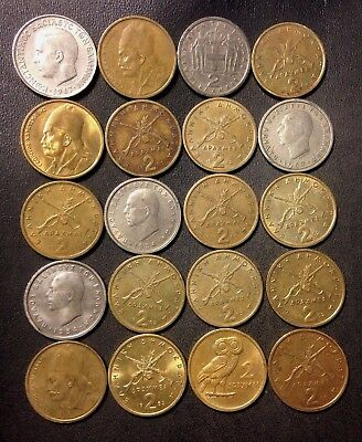 Old Greece Coin Lot - 2 Drachmai - Mixed Types - 20 Collectible Coins - Lot #D9