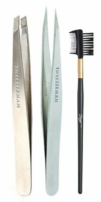 Tweezerman Slant & Point Tweezer Bundle Set Stainless Steel Diane Brow Lash Comb