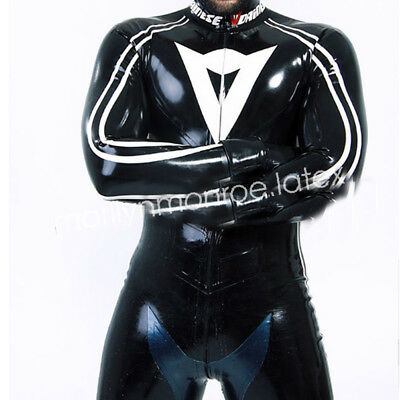100%Latex Gummi Rubber Man Tight Black Race Suit Catsuit Size XXS-XXL