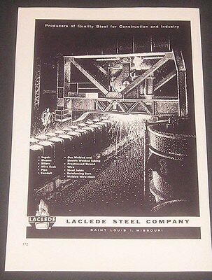 1960 LaClede Steel Co, St Louis Missouri, Vintage Print Ad, Industrial Art