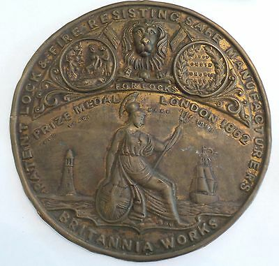 Antique Victorian Pressed Brass Safe Plaque - Seated Britannia, Lighthouse, Ship