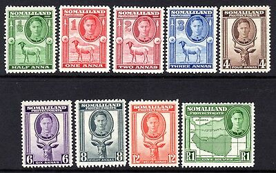 Somaliland KGVI  1942 Set to 1r (Full Face Portrait) SG105-113 LM/Mint