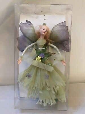 "Poseable Fairy Christmas Ornament Katherine's Collection 8"" Doll Mib Green"