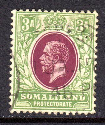 Somaliland KGV 1912-19 (Wmk Multi CA) 3a Chocolate & Green SG64 Used