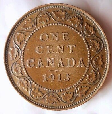 1913 CANADA CENT - AU - EXCELLENT Scarce Date Coin - Lot #D9