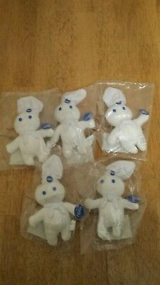 Vintage Advertising Pillsbury Doughboy Beanie Bean Bag Plush Doll Toy lot of 5