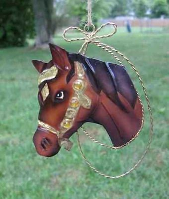 Holiday Tin HORSE HEAD Brown w/Jewel Accents Xmas Ornament CLEARANCE SALE