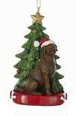 Cute Resin LAB RETRIEVER CHOCOLATE Dog w/Xmas Tree Christmas Ornament