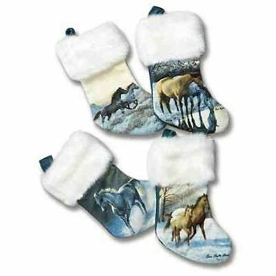 Horse Holiday HORSE Fabric Christmas Small Stockings Set of 4 CLEARANCE SALE