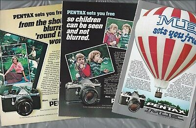 1977-78 Pentax ME camera advertisements x3, for PENTAX ME 35mm camera