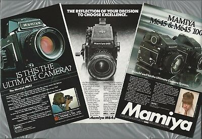 1976-78 MAMIYA Camera advertisement x3 for the M645 medium-format camera