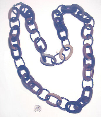 """STATEMENT Metal/WOOD Modernist APPARTEMENT A LOUER Chain 41"""" NECKLACE France"""