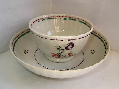 Antique Chinese Famille Rose porcelain teabowl & saucer flowers C1790 No3