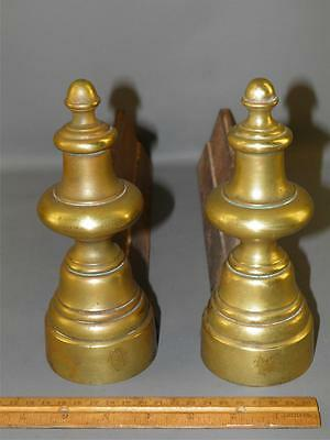 Antique Victorian Brass Cast Iron Pair  Fireplace Andirons