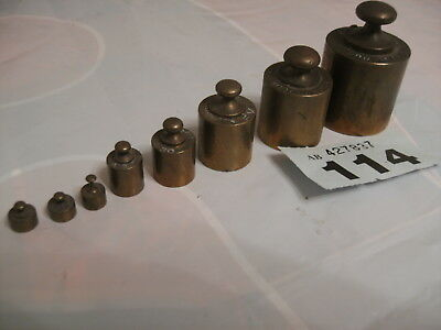8 Vintage Apothecary /  Kitchen Brass Scale Weights With Crown Ev Stamp Marks