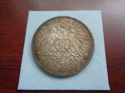 1914 Germany 5 Mark silver coin Nice condition