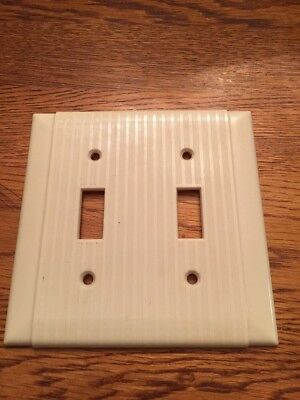 Vintage Mid Century Uniline Ribbed Bakelite Double  Light Switch Plate Cover