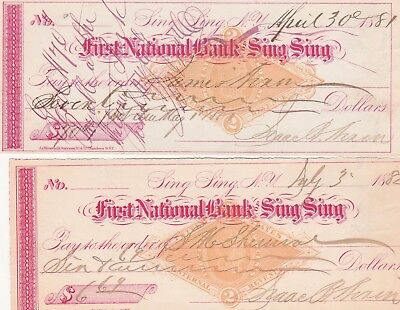 Two (2) Antique Checks First National Bank, Sing Sing, Ny 1881 &  1881 Revenues