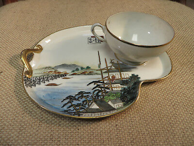 Beautiful Nippon-Era Japanese Porcelain Plate and Cup, Landscape, Cranes