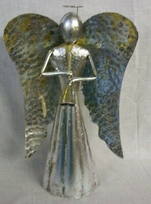 "NEW SILVER AND GOLD METAL ANGEL WITH TRUMPET 29"" Tall TII Collections"