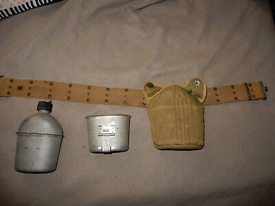 Original Wwii Us Army 1942 Pistol Belt, 1944 Canteen Set, British Made Cover