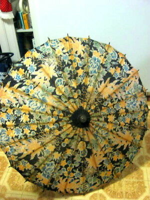 Vintage Japan Flower Print Cloth Wood Bamboo Parasol Umbrella Probably 1950s 27""