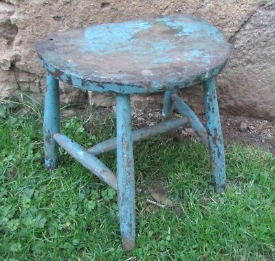Chippy Antique French Handmade Original Paint 4 Legged Milking Stool Sml Table