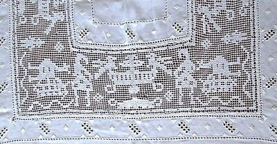"antique linen tablecloth 104x68"" figural filet lace+recticella w10 nap.s 18"" sq."