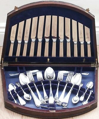 CANTEEN OLD ENGLISH PATTERN 50pc - SILVER PLATED - VINTAGE CUTLERY - SHEFFIELD