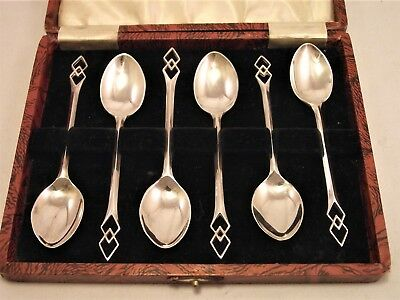 Cased Set Of Six Solid Silver Coffee Spoons Pierced Art Deco