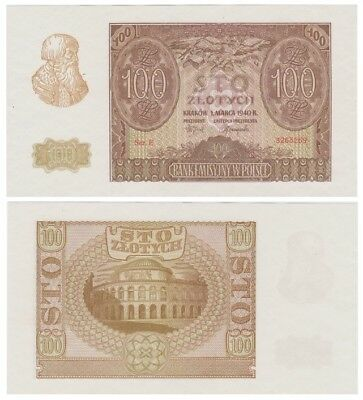 1oo Zlots Polish banknote issued in 01.03.1940 E aunc