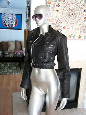 Vtg Rare CONTEMPO CASUAL Leather MOTORCYCLE Biker MULTI Zipper BELTED Jacket L!