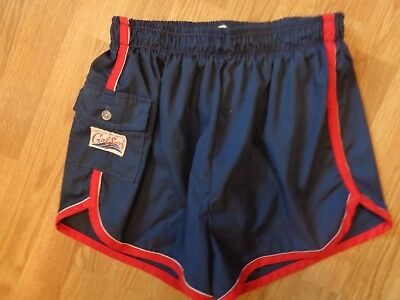 Vintage Cal Surf men's navy blue gym running swim shorts red trim lined size L