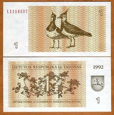 Lithuania, 1 Talona 1992, P-39, EX-USSR, UNC > Lapwings